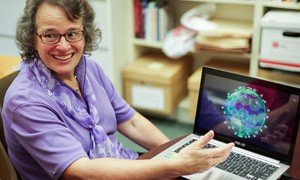Professor Zelda Zabinsky with computer