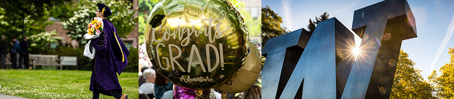 Image collage of student wearing cap and gown, celebratory congratulations balloons and the W sculpture